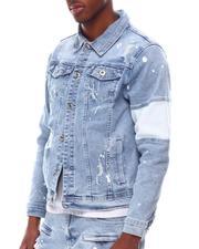 Denim Jackets - Paint Splatter Denim Jacket w Colorblock Detail-2614964