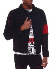 Denim Jackets - Paint Splatter Denim Jacket w Colorblock Detail-2614971