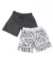 Arcade Styles - 2 Pk All Over Print & Solid French Terry Shorts (4-7)-2616412