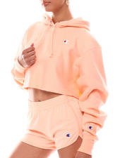 Women - Cropped Reverse Weave Crew Neck Pullover Hood-2616663