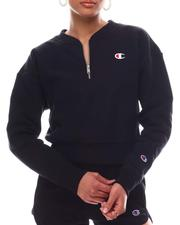 Sweatshirts - Reverse Weave Crop 1/4 Zip & Cinch Bottom Pullover-2616645