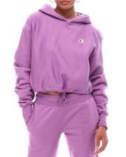 Athleisure - Reverse Weave Crop 1/4 Zip & Cinch Bottom Hood Pullover-2616679