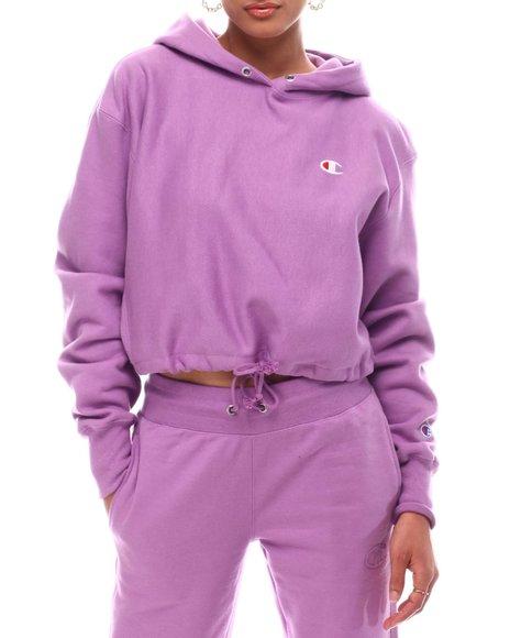 Champion - Reverse Weave Crop 1/4 Zip & Cinch Bottom Hood Pullover