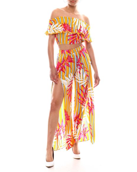 Fashion Lab - Off Shoulder Ruffle Top W/Slit Leg Pant Set