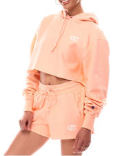 Athleisure - Tonal Marble Logo Cropped Reverse Weave Pullover Hood-2616960