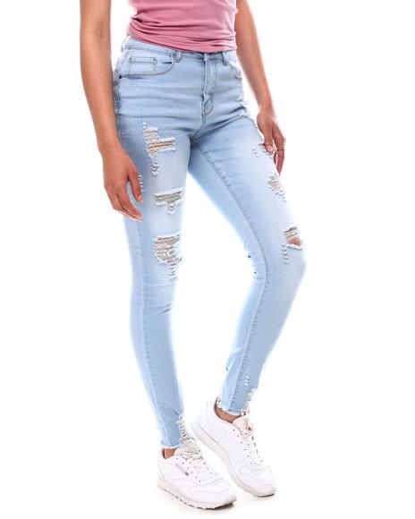 Fashion Lab - Distressed Skinny Jeans W/Raw Hem