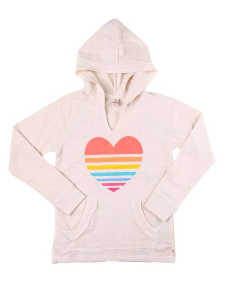 La Galleria - Heart Print Hooded Top (4-6X)