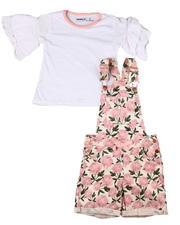 Sizes 4-6x - Kids - 2 Pc Ruffle Tee & Tie Waist Shortall Set (4-6X)-2605969