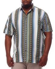 Button-downs - Stripe Printed Short Sleeve Woven Button Up Shirt (B&T)-2612394