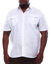 Button-downs - Solid Short Sleeve Woven Button Up Shirt (B&T)-2614236