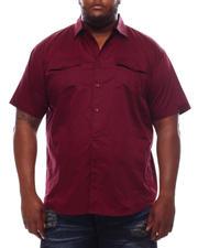 Button-downs - Solid Short Sleeve Woven Button Up Shirt (B&T)-2614226
