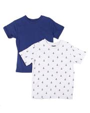 Tops - 2 Pack Solid & Printed Crew Neck T-Shirts (4-7)-2606284