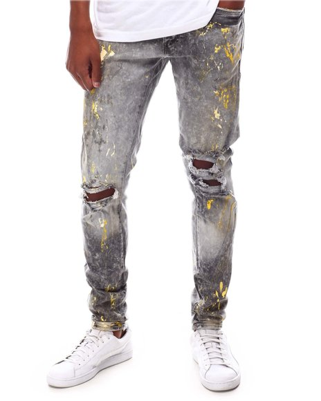 Jordan Craig - Fog Distressed Paint Splatter Jean