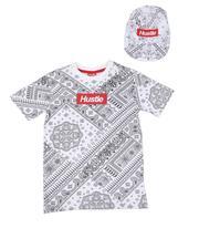 Sets - 2 Pc Hustle Bandana Print Tee & Snapback Cap (8-20)-2621085