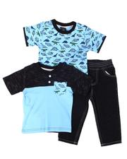Sets - 3 Pc Dinosaur Print Tee, Color Block Tee & Jeans Set (2T-4T)-2613431