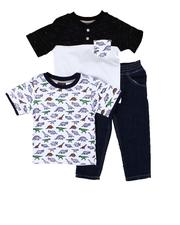 Sets - 3 Pc Dinosaur Print Tee, Color Block Tee & Jeans Set (2T-4T)-2613442