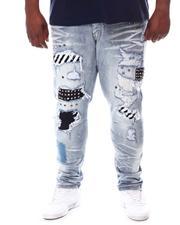 SMOKE RISE - Stud & Patch Rip Repair Denim Jeans (B&T)-2620822