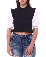 Fashion Tops - Mixed Media Smock Shirt-2617032