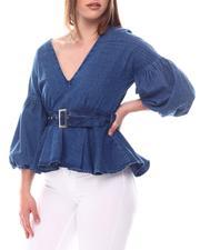 Women - V Neck Blouse W/Plated Sleeve & Self Belt-2617037