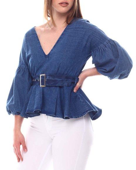Fashion Lab - V Neck Blouse W/Plated Sleeve & Self Belt