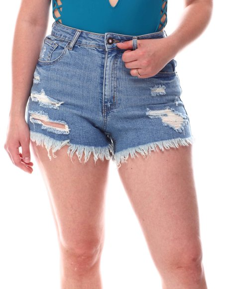 Fashion Lab - Distressed Raw Hem Denim Shorts