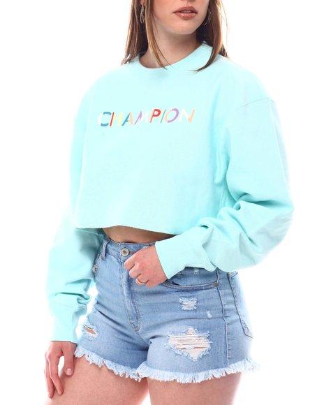Champion - Multi Color Logo Cropped Reverse Weave Pullover