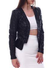 Fashion Lab - Pu Mesh Inset Blazer Jacket-2623224