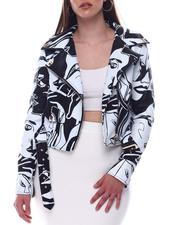 Outerwear - Face Printed Moto Jacket-2623230