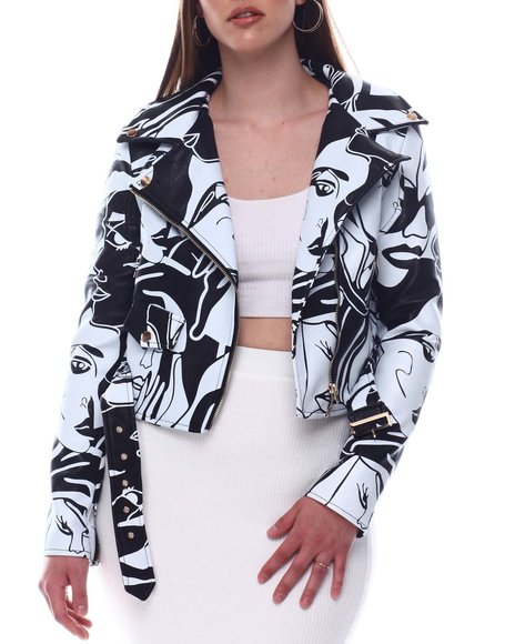Fashion Lab - Face Printed Moto Jacket