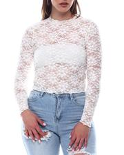 Almost Famous - Long Sleeve Mock Neck Crop Top W/Lettuce Hem-2623343