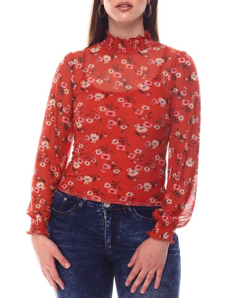 Almost Famous - Smocked Mock Neck Puff Sleeve Top W/Cami Inset