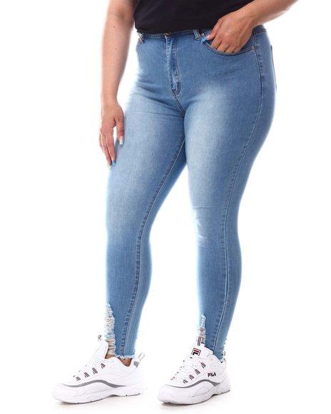 Fashion Lab - High Waist Raw Edge Jeans (Plus)