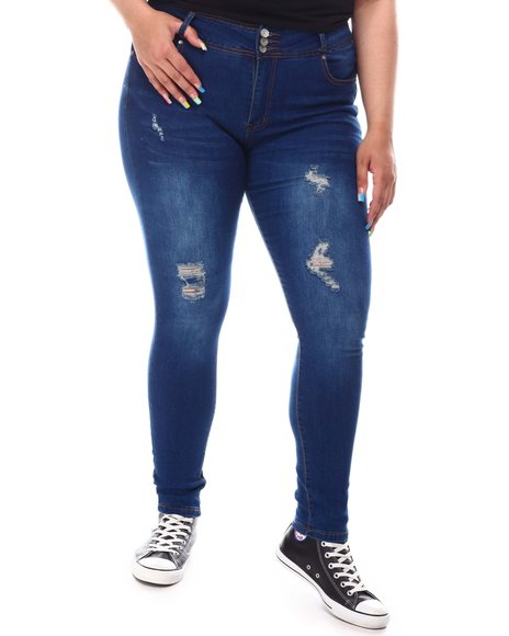 Fashion Lab - High Rise Exposed Button Jeans (Plus)