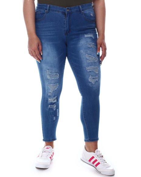 Fashion Lab - High Rise Rip & Repair Jeans (Plus)