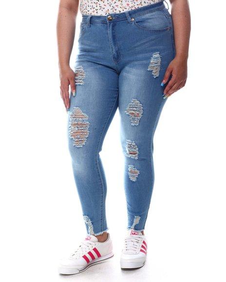 Fashion Lab - Ripped Raw Hem Straight Leg Jeans (Plus)