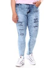 Fashion Lab - Acid Wash High Waisted Ripped Skinny Jeans (Plus)-2601136