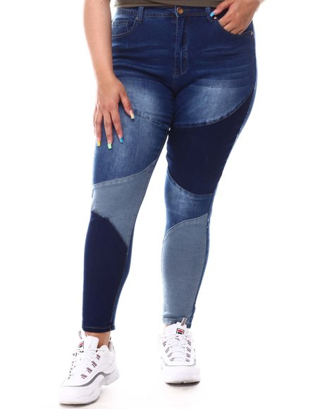 Fashion Lab - Color Block Straight Jeans ( Plus)