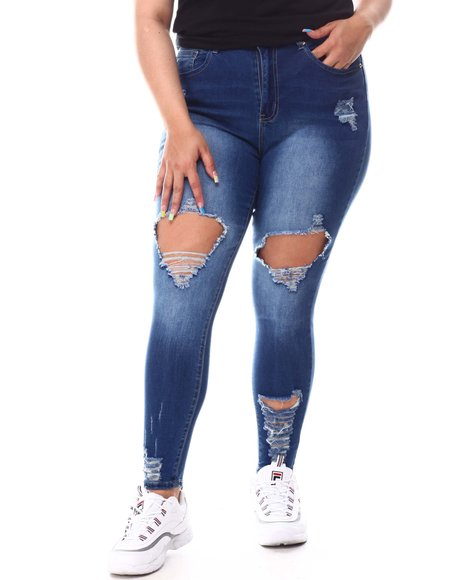 Fashion Lab - High Waist Ripped Skinny Jeans (Plus)