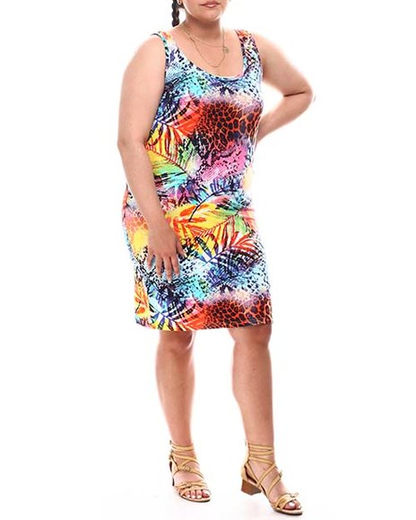 Fashion Lab - Double Scoop Midi Printed Dress (Plus)