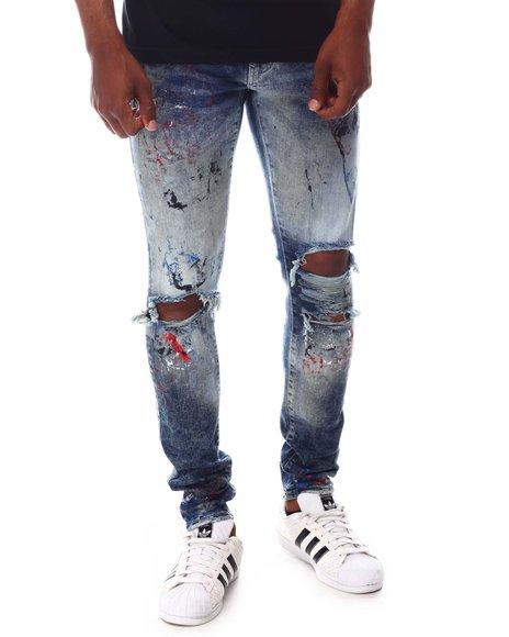 Jordan Craig - Pacific Blue Distressed Paint Splatter Jean
