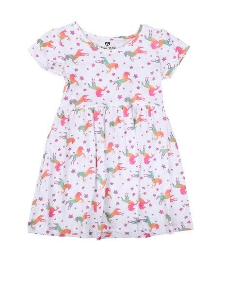 La Galleria - Unicorn Print Cap Sleeve Dress (2T-4T)