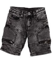 Bottoms - Washed Stretch Cut & Sew Moto Denim Shorts (2T-4T)-2605593
