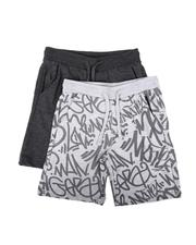 Boys - 2 Pk All Over Print & Solid French Terry Shorts (8-18)-2624088