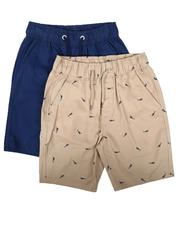 Shorts - 2Pk All Over Print & Solid Twill Shorts (8-18)-2623620