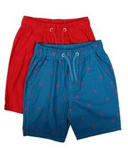 Arcade Styles - 2Pk All Over Print & Solid Twill Shorts (8-18)-2623810