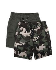 Arcade Styles - 2Pk Twill Cargo & Camo Shorts (4-7)-2623484