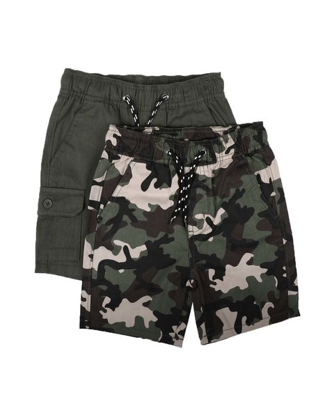 Arcade Styles - 2Pk Twill Cargo & Camo Shorts (4-7)