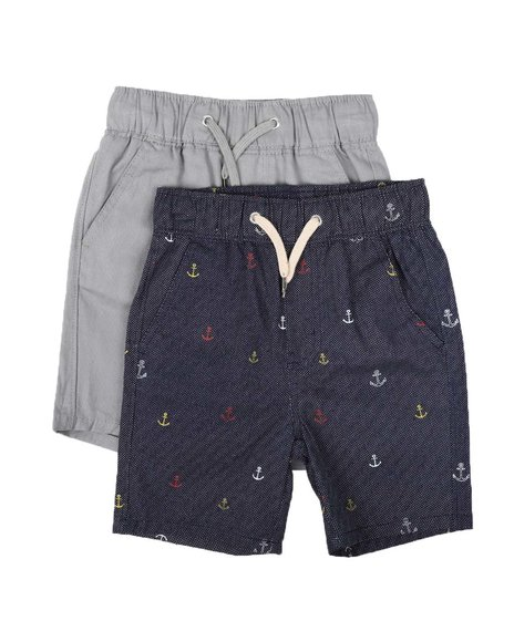 Arcade Styles - 2Pk All Over Print & Solid Twill Shorts (4-7)
