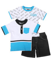 Sets - 3 Pc All Over Print Tee, Color Block Tee & Denim Shorts Set (2T-4T)-2624818