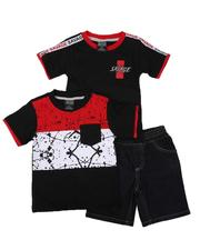 Boys - 3 Pc Color Block Paint Splatter Tee, Taped Shoulder Tee & Denim Shorts Set (2T-4T)-2623501